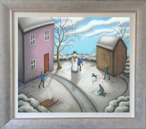 a snowmans story - on canvas  - framed