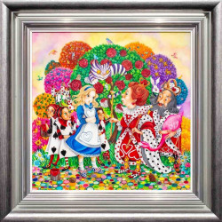 Alice In The Rose Garden - Silver-Blue Framed