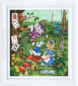 Alice Meets The Cheshire Cat  - Framed