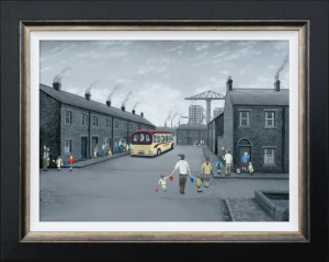 all aboard for the seaside - canvas  - framed