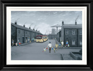 all aboard for the seaside - deluxe canvas  - framed