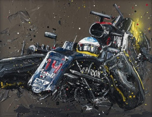 Alonso Crash - Canvas  - Framed