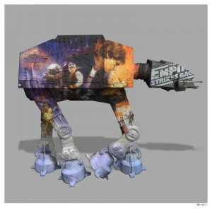 AT AT - Grey Background - Large - Mounted