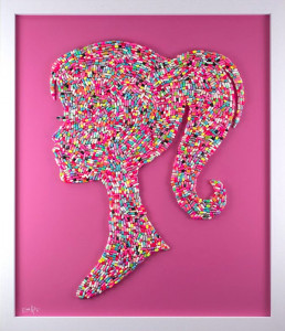 Bad Barbie - Multi-Coloured On Pink Background - Large Original - White - Framed