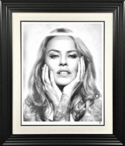 Black And White Kylie Minogue  - Framed