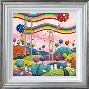 Chasing Rainbows - Original - Blue And Silver - Framed