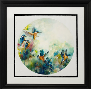 concentration (kingfishers) (large)  - framed