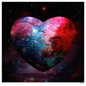 Cosmic Heart - Small Size - Black Background - Mounted