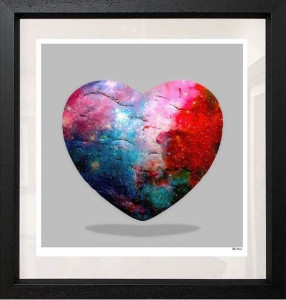 Cosmic Heart - Small Size - Grey Background - Black - Framed