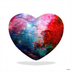 Cosmic Heart - Small Size - White Background - Mounted