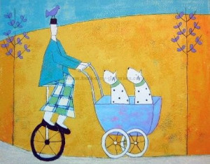 Dogs In A Pram - Print only