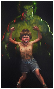 dr bruce banner is bathed in the full force of the mysterious gamma rays (incredible hulk)  - mounted