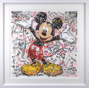 First Love - Mickey - White - Framed