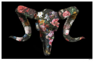 floral ram skull (black background) - small  - mounted