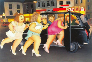 girls in a taxi - print