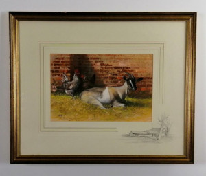 Goat And Rooster - Brown - Framed