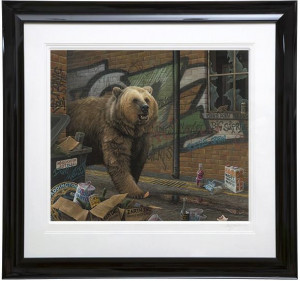 grizzly - paper  - framed