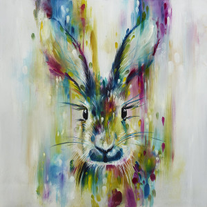 hare - escape (canvas)  - framed