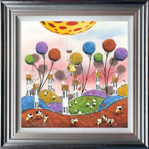 Hot Hare Balloon - 3D High Gloss - Blue And Silver - Framed