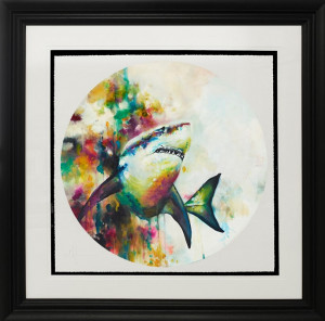 jaws (great white shark) (large)  - framed