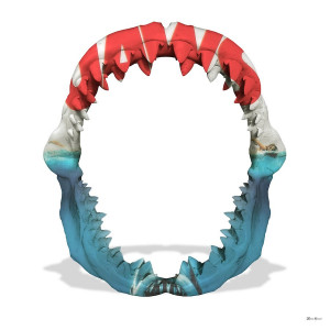 Jaws - White Background - Large  - Framed