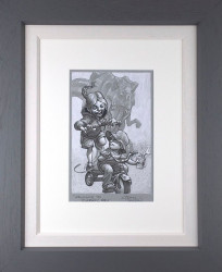 Keep Absolutely Still, Her Vision Is Based On Movement - Sketch - Artist Proof Grey Framed