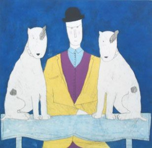 Lady & Two Dogs - Blue - Print only