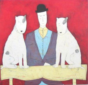 Lady & Two Dogs - Red - Print only