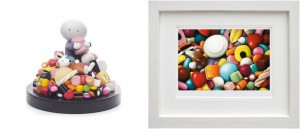 Life Is Sweet - Sculpture And Pick Me - Set - White - Framed