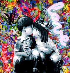 First Kiss - Canvas - White Framed