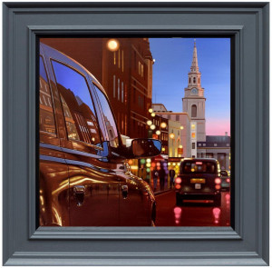 London Dusk Reflections - Canvas  - Framed