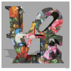 love floral - grey background - large - mounted