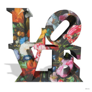love floral - white background - large - mounted
