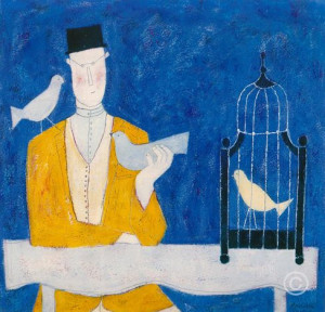 Man With Bird Cage - Blue - Print only