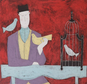 Man With Bird Cage - Red - Print only