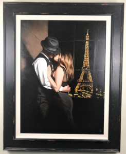 midnight in paris - canvas  - framed