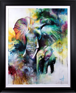 Mother And Baby Elephant 2019 - Artist Proof - Framed