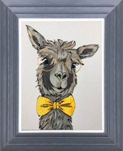 Mr Llama - Original - Dark Grey - Framed