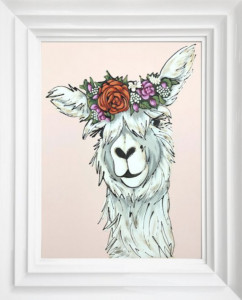 Mrs Llama - Original - White - Framed