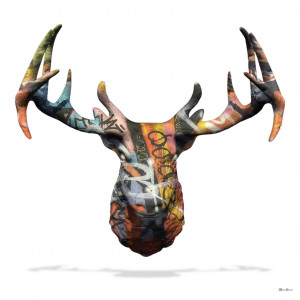 my deer graffiti stag head (white background) - large  - framed