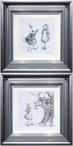 Oh My Fur And Whiskers & We're All Mad Here - Sketch Editions Set Of 2 - Framed