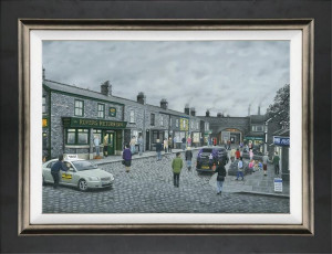 On The Cobbles - Canvas - Black - Framed