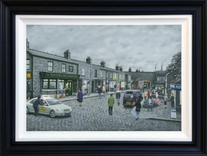 On The Cobbles - Deluxe Canvas - Black - Framed