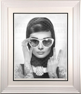 Peace, Love & Audrey - Black & White Tattoo - Artist Proof - Framed