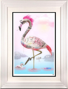 Punk Flamingos - White - Framed