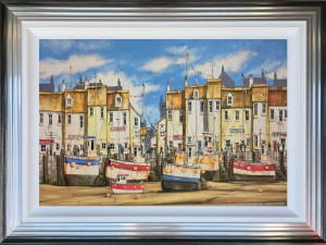 Quirky Harbour - Original - Blue And Silver - Framed