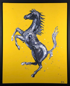 rampante cavallo canvas yellow - framed box canvas