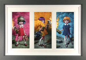 Riot Girls - Triptych - Framed