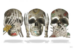 see no evil (white background) - small  - mounted