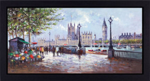 south bank flowers - framed box canvas